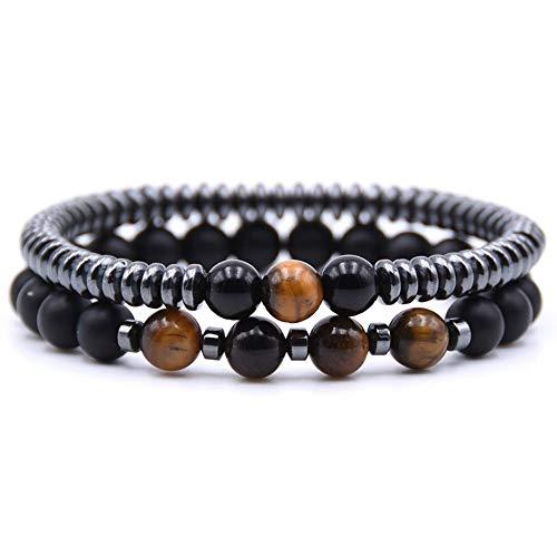 WHFDRHSZ Bangle armband 8Mm natuursteen kraal armband 6Mm Hematiet ronde tabletten ketting armbanden voor dames en heren