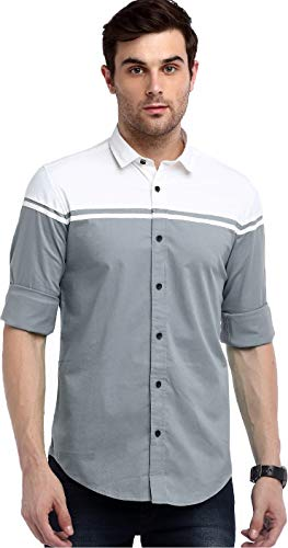 IndoPrimo Men's Regular Fit Cotton Casual Shirt (Grey, X-Large)