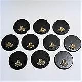 10 placas de cuña para cuña, tabla de especias, placa para trofeos, redonda, oscuro, AF 15 cm, con 10 hojas de roble.
