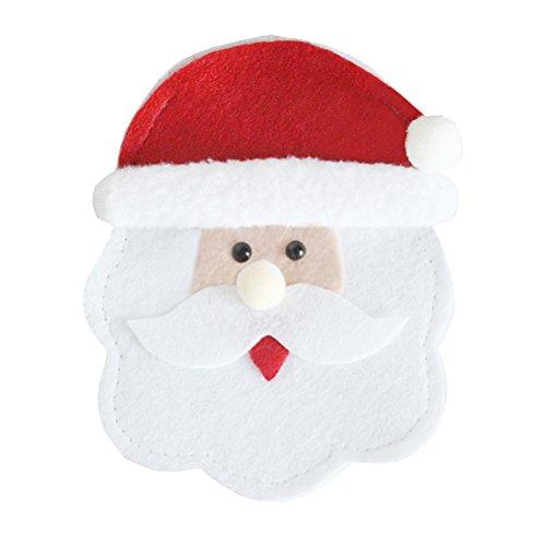 OUNONA Carino Natale Coltelli forchette Stoviglie Borse Posate da cucina Argenteria portabiti Portachiavi Natale Partito Decorazioni da tavolo da cerimonia nuziale (Round Face Santa)
