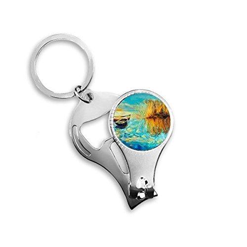 DIYthinker Lake Boot Landschap Olie Schilderen Metalen Sleutelhanger Ring Multi-Functie Nagel Clippers Fles Opener Auto Sleutelhanger Beste Charm Gift