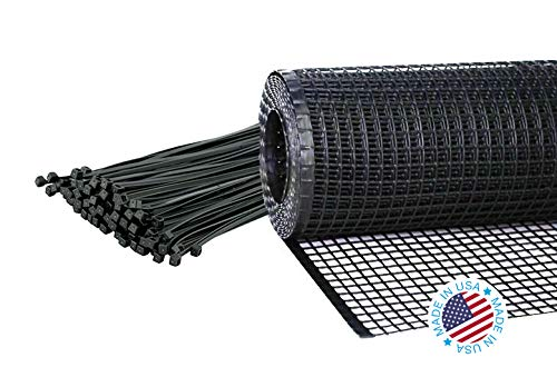 Kidkusion Heavy Duty Deck Guard, Black - 30' L x 34' H   Made in USA; Indoor/Outdoor Balcony and Stairway Deck Rail Safety Net; Child Safety; Pet Safety; Toy Safety