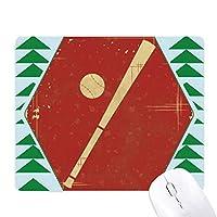 スポーツ野球イラスト赤いパターン オフィスグリーン松のゴムマウスパッド