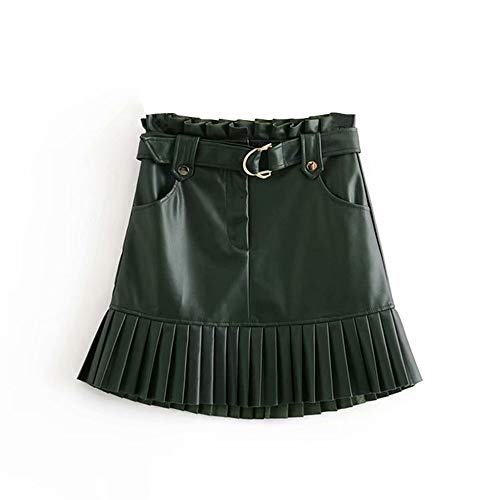 Vrouwen Black PU leren rok met riem Fashion Streetwear Ruffles Plisse Mini Rokken A-lijn Party Club Sexy Short Skirt (Color : Dark Green, Size : L)