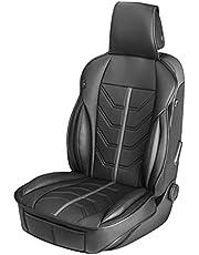 Walser 13985 Kimi, uniwersalna nakładka na siedzisko i podkładka ochronna w kolorze czarnym – szarym, ochraniacz na siedzenie do samochodów osobowych i ciężarowych o wyglądzie wyścigów