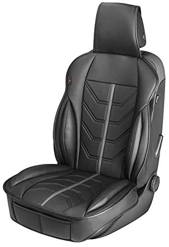 Walser Autositzauflage Kimi, Universelle Sitzauflage und Schutzunterlage in schwarz - grau, Sitzschoner für Pkw und LKW in Rennsportoptik