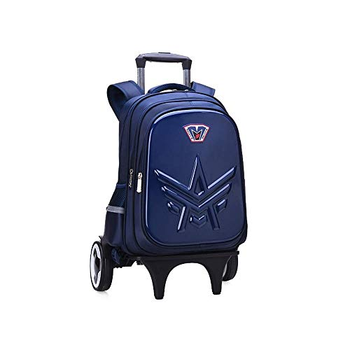 Durable Universal Wheel Trolley Travel Bag Trolley Schoolbag Boys Girls Waterproof Burden-Reducing Backpack Children Climb Stairs Trolley Bag Hard Shell Effortless School Bags Durable Mold Wheels