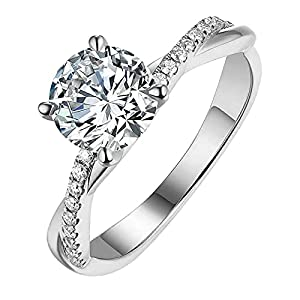 TUU Wedding Rings, Women 925 Sterling Silver Gold Ring White Rhinestone Promise Ring Engagement Anniversary Jewelry Size 5-11 (Silver, 11)