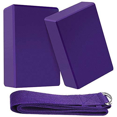 ZoneYan Bloque Yoga 2 Piezas, Bloque de Espuma Yoga, Bloque de Yoga y Correa, Bloque de Yoga Espuma, Yoga Block Espuma De Pilates, Flexibilidad Fitness Ejercicio