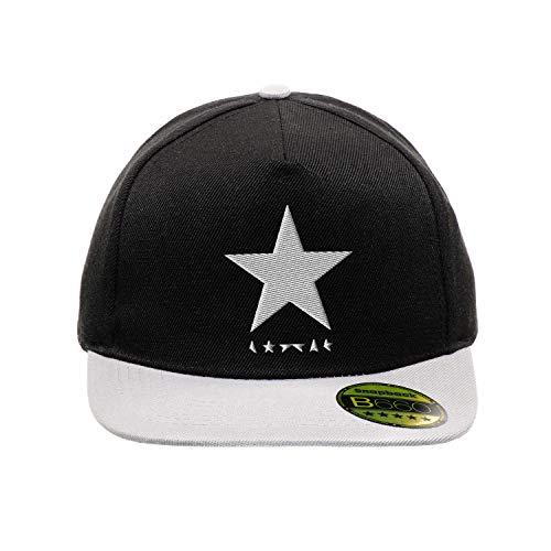BroiderStudio Black Star David Bowie White Schwarz/Grau Hut Flacher Gipfel Verstellbar Snapback Unisex Original Bestickte Urban Logo Mütze