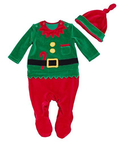 FANCYINN Baby Weihnachten Strampler Baumwolle Weihnachtself Outfits mit Hut