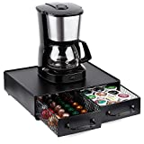 ESEOE Coffee Pod Storage Drawer, Multifunctional K-cup Storage Drawer Holder with 2pcs Drawer Organizer for K-Cup Pods, Nespresso Vertuoline OriginalLine, Verismo,Dolce Gusto,CBTL- Black