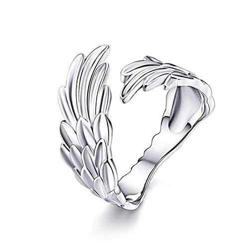 ELINA S925 Anillo Ajustable de Plata de Ley Original con alas de ángel para Mujer