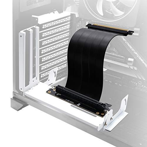 EZDIY-FAB Halterung für vertikale Grafikkartenhalterung mit Mehrwinkel, GPU-Halterung, Grafikkarten-VGA-Support-Kit mit PCIE3.0-Riser-Kabel - Weiß
