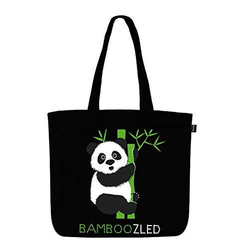 EONO Large Canvas Tote Borsa in Cotone Sacchetti di drogheria Riutilizzabile di Eco-Friendly Shopping Bag per Le Donne con Zip - Stampato Bamboozled Panda - (Nero) | 0202H04