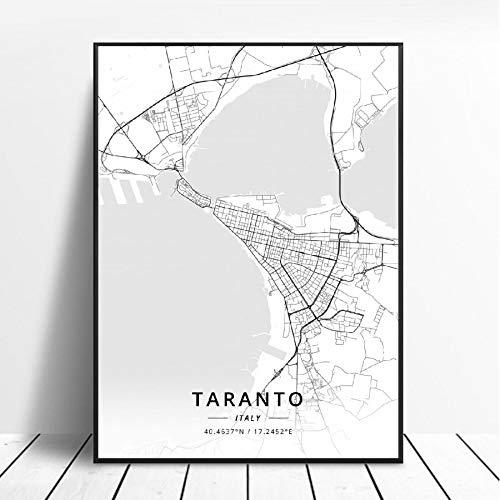 NOVELOVE Città di Taranto Italia Mappa Poster Stampe HD Quadri Immagini su Tela Pittura murale Bar Decorazioni per la casa Senza Cornice 50 * 70 cm