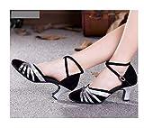 ZIJ Zapatos de baile latino rojo dorado plateado negro zapatos de salsa para mujer, zapatos de salsa de fiesta de salón de baile zapatos de tacón bajo (color: negro plata, talla de zapato: 6)