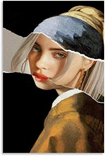 Luck7 Poster And Painting 23.6'x35.4'(60x90cm) Girl with A Pearl Earring Billie Eilish Oil Hanging Picture and Picture Modern Family bedroom Decor NO FRAME