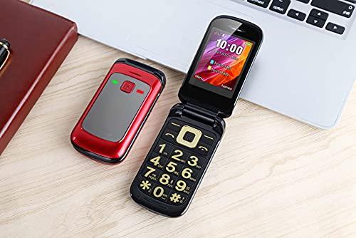 TeléFono Plegable De Doble Tarjeta De 2.4 '' con Dual MóVil con Tapa Desbloqueada con Base De Carga, Grabadora AutomáTica, BotóN Grande De Gran Volumen para Adultos Mayores De,Red