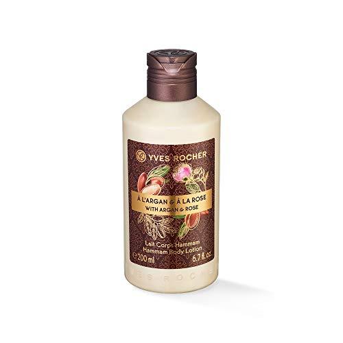 Yves Rocher LES PLAISIRS NATURE Körpermilch Hammam Arganöl-Rosenwasser, feuchtigkeitsspendende Body Milk, 1 x Flacon 200 ml