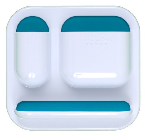 """Five Star Locker Accessories, Tri-Pocket with Dry Erase Surface, 7"""" x 7-1/2"""", White with Teal Pockets (72628)"""