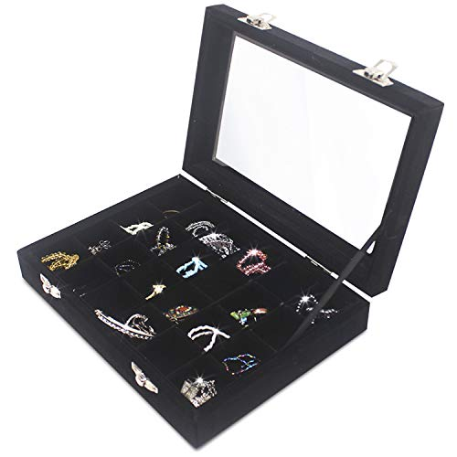 Clear Lid 24 Grid Small Jewelry Box ~ Showcase Display Storage For Rings Earrings Bracelet ~ Secure & Travel Friendly (Black)