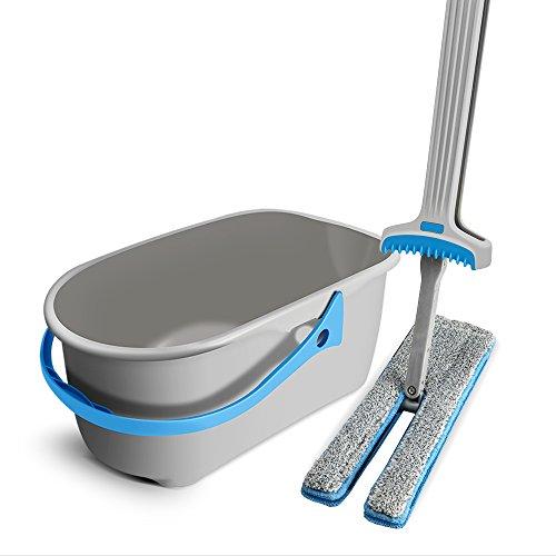 Masthome Mop mit Eimer mit 135cm Stiel,Bodenwischer Wischmopp Mit Mop-Eimer auspressen Doppelmopp für den Haushalt Geeignet für die Bodenreinigung