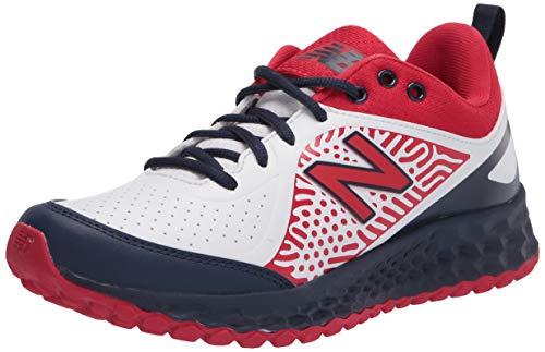 New Balance Women's Fresh Foam Velo V2 Turf Softball Shoe, Red/White/Blue, 5