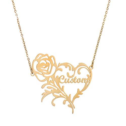 JIAQINGRNM Collar con letra y nombre de rosas, collar con texto 'I Love You', cadena de clavícula, regalo de día de San Valentín, cumpleaños