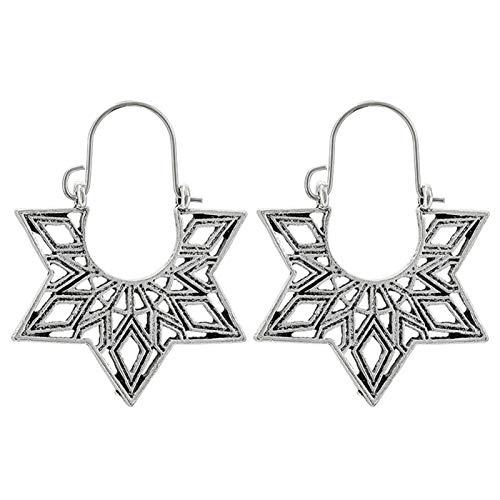 Ruby569y - Pendientes de aro para mujer, diseño geométrico, hueco, estilo bohemio, para mujer, joyería de moda, accesorio de regalo – 9032, plata