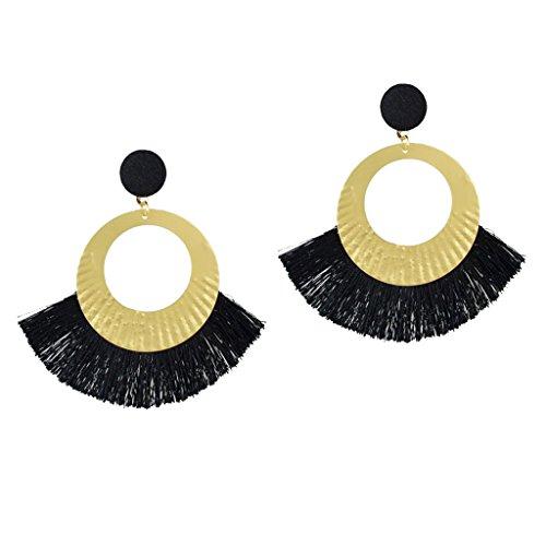 dailymall Pendientes Colgantes de Borla Circular Redonda de Moda Boho para Mujer Pendientes Colgantes con Flecos - Negro