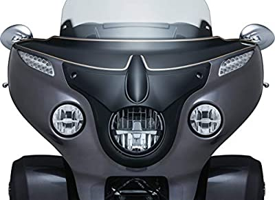 Kuryakyn 5694 Motorcycle Lighting Accent Accessory: Signature Series Vantage Headlight Bezel by John Shope for 2014-2019 Indian Motorcycles, Satin Black by Kuryakyn