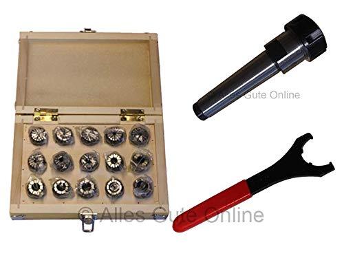Spannzangenfutter MK3 M12 DIN228A ER25 + ER25 430E Spannzangen-Set HK (15 St.) + Schlüssel UM