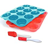 12 Pc Silicone Muffin and Cupcake Baking Mould, Muffin & Cupcake Tins & Moulds, Non Stick/Dishwasher - Microwave Safe(2pack)(Red+Blue)