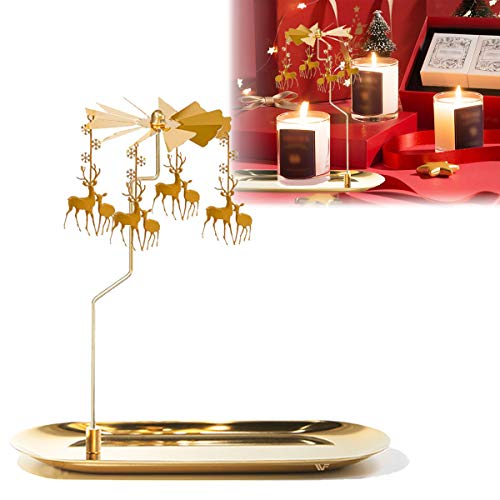 WOWLED Spinning Candle Holder,Deer Rotating Candlestick Set for Candle Lover, Romantic Wedding, Christmas Party, Fireplace Decor, Home Table Decorations, Holiday Favor Gift(Golden)