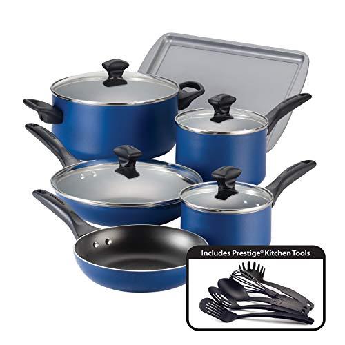Farberware Dishwasher Safe Nonstick Cookware Pots and Pans Set, 15 Piece, Blue