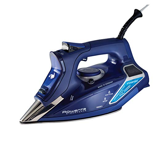 Rowenta DW9280 Digital Display Steam Iron, Stainless Steel Soleplate, 1800-Watt, 400-Hole, Blue
