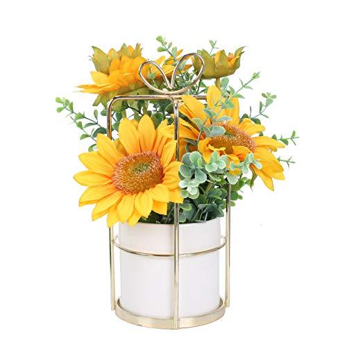 DWANCE Flores Artificiales con Maceta GirasolArtificial Flores Amarillo Flores Falsas para Hogar Oficina Decoración Jardín Baño Cocina Balcón
