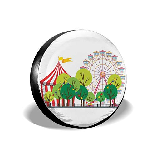 Usicapwear Tire Cover Tire Cover Wheel Covers,Circus Carnival Scene with Ferris Wheel and Tree Images Cool Fun Park Artistic Show,for SUV Truck Camper Travel Trailer Accessories 15 inch