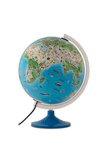 Tecnodidattica – Mappamondo Atmosphere Family Solid per bambini, luminoso, girevole, cartografia illustrata e meridiano graduato, diametro 30 cm