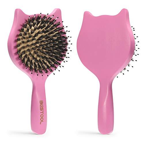 Brosse à cheveux, BESTOOL petites brosses à cheveux de voyage pour femmes, hommes ou enfants, brosse à cheveux en poils de sanglier pour tout-petits pour le démêlage (rose)