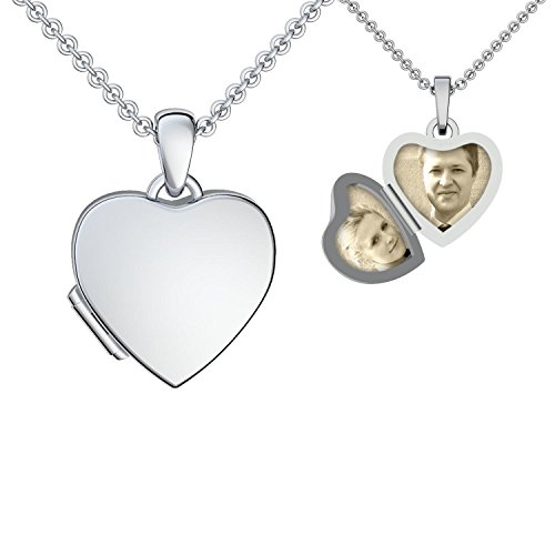 Heart Locket silver necklace pendant photo for children kids or girlfriend heart shaped lockets for pictures heart medallion + Free Gift Box! Sterling Silver 925 Jewellery - FF98 SS92545.UK