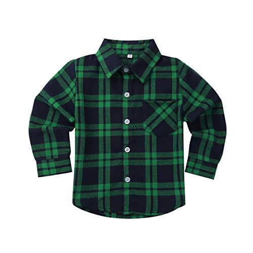 Freebily Kinder Jungen Mädchen Kariert Hemd Langarm Hemden Plaid Kariert Blusen Stehkragen Freizeithemd Tops Baumwolle Shirt Grün 116-122