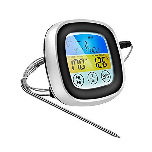 huahuajia TermóMetros De Cocina Pantalla TáCtil Lectura InstantáNea Termometro Carne Barbacoa Pantalla LCD Impermeable Termometro para Horno para Cocina Black