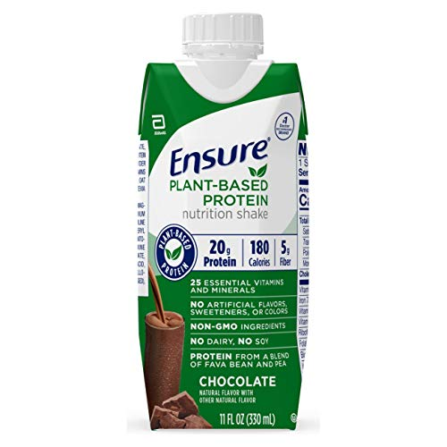 Ensure 100% Plant-Based Vegan Protein Nutrition Shakes with 20g Fava Bean and Pea Protein, Chocolate, 11 fl oz, 12 Count