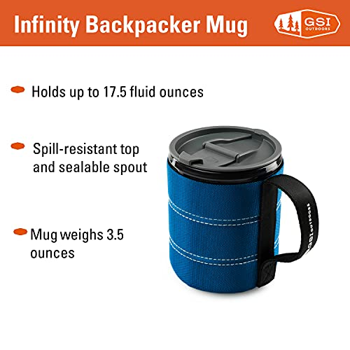 GSI Outdoors Insulated Infinity Backpacker Mug for Camping, Sturdy and Lightweight, Blue, 17 fl oz