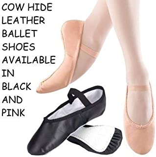 Ballet Dance Slippers Full Suede Sole with Elastics Pink & Black