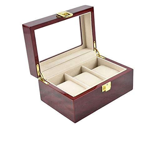 Uhrenbox für 3 Uhren mit Glasanzeige Oberseite Schmuck-Boxen Aufbewahrungsboxen Display-Boxen Watch Box aus Kunstleder und Echtglass Mens Uhren Organizer Schmuck Vitrine