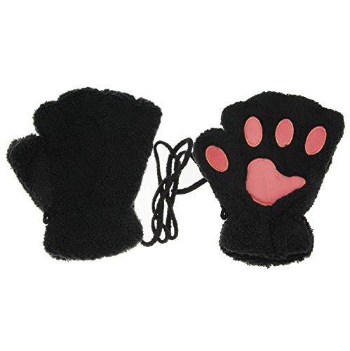 Damen Mädchen Fingerlos Handschuhe Süsse Kartoon Tier Charakter Pfote Halbe Finger Warm Damenhandschuhe Koralle Vlies Winter schwarz Grau Rot, Schwarz, 1.00 Strength