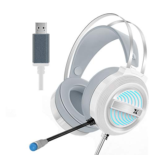 Unknows - Auriculares de juego USB estéreo con sonido envolvente 7.1 con micrófono